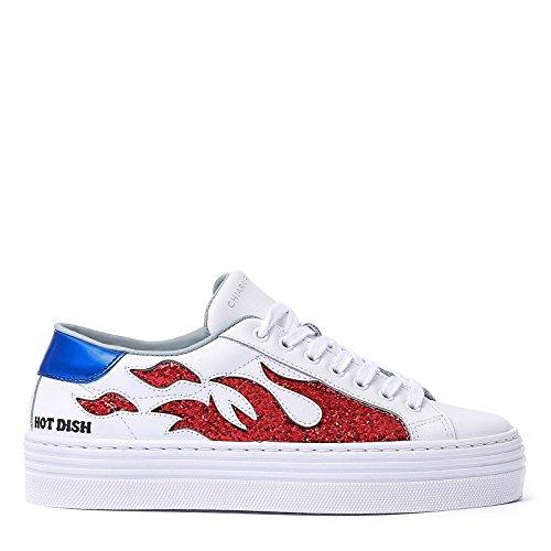 Chiara Ferragni Damen Cf1921 Weiss Leder Sneakers