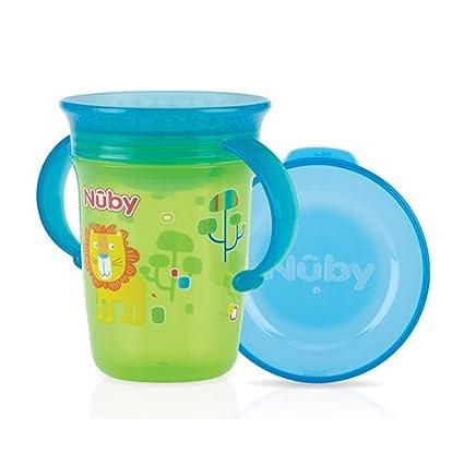 Nuby ID10410 - Taza con asas y tapa, 240 ml, color verde
