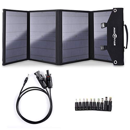 Rockpals 100W Foldable Solar Panel Charger for Suaoki Portable Generator / 8mm Goal Zero Yeti Power Station/Jackery Explorer 240, Webetop Battery Pack/USB Devices, with 3 USB Ports (Solar Panel 240w)