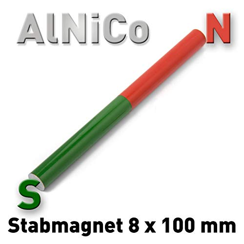 Stabmagnet 8 x 100 mm, rot-grü n lackiert, Schulmagnet, Rundstabmagnet AlNiCo Rundstab Rund Stab Alnico5 Permanent Magnet 10 cm Polymet