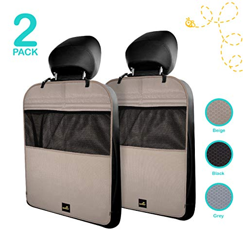 Premium & Stylish Car Seat Protector Kick Mats, 2 Pack, Easy Care, 3 Color Options (Kick Mats Tan)