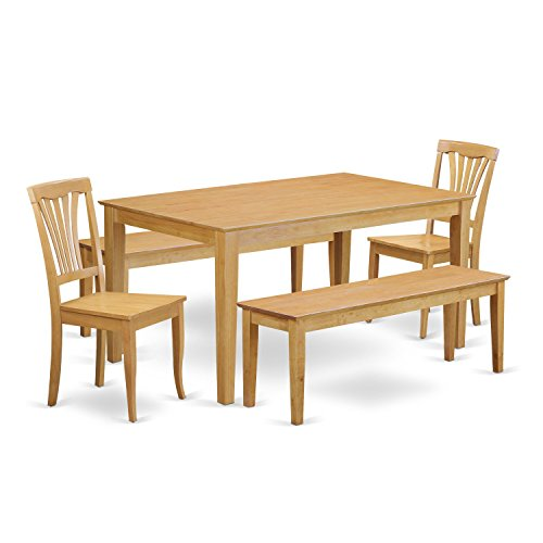 East West Furniture CAAV5C-OAK-W 5 Piece Dining Table and 2 Kitchen Chairs Along with 2 Wooden Benches Set