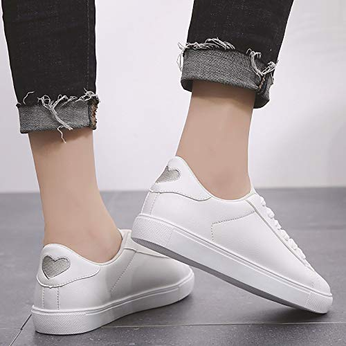 Heel ZHZNVX Silver Silver Summer Toe Round Minimalism amp; White Flat Shoes Polyurethane PU Comfort White Blue White Spring Women's White Pink Sneakers PprqPg