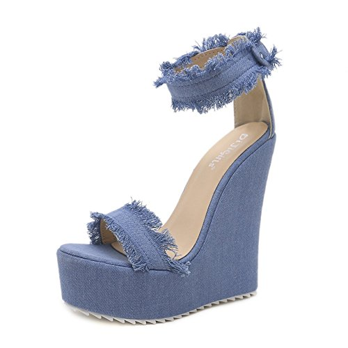 fibbia Open Scarpe Scarpe da Casual per denim zeppa bordi da sera donna Club abito con toe con sandali Denim Casual Sandali sera in da Estate Blue GAOLIXIA e rXTzPqX