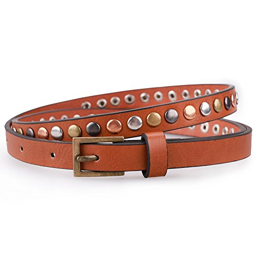 Earnda Skinny Belts for Womens Dress Leather Studded Jeans Brown Waist Belt