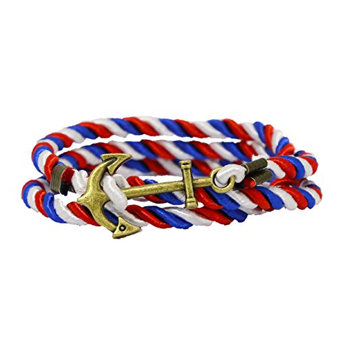 RIVERTREE Vintage Nautical Anchor Bracelet Charm Multiplayer Rope Twining Weave Nylon Rope - Red Blue White for $<!--$6.99-->