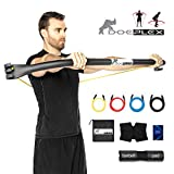 Doeplex Rhino Bow Portable Home Gym Resistance Band System Heavy Set, Weightlifting and HIIT Interval Training Kit, Full Body Workout Equipment