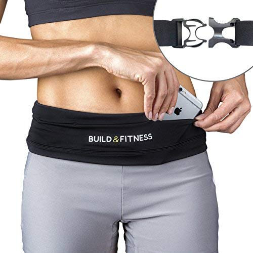 Build & Fitness Running Belt, Adjustable Waist, Comfortable, Slim, Key Clip - Fits Fuel Gel, iPhone 6,7,8plus,X, Samsung S7,S8,S9 - for Men, Women, Runners, Jogging, Gym, Yoga, Workout from Build & Fitness