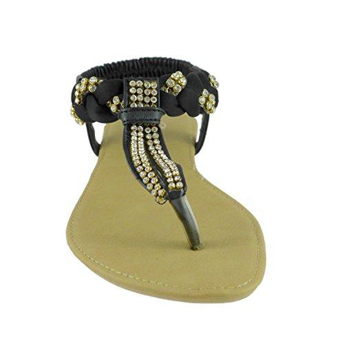 Bonita Dames Sandalen Lage Hakken Schoenen T-strap Flip Flops Grace-01 Zwart
