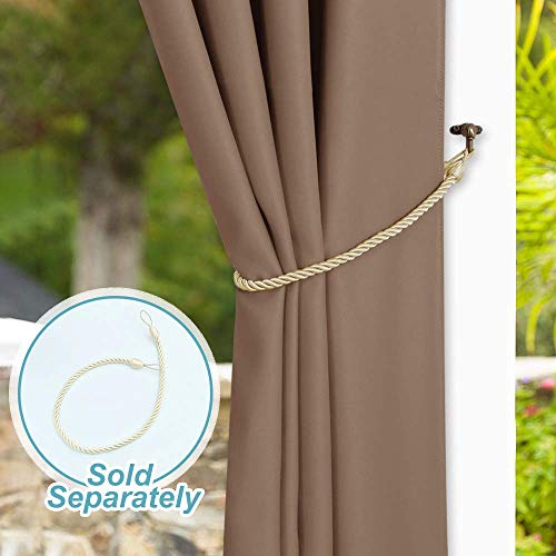 NICETOWN Outdoor Curtain Panel for Patio - Vertical Blinds Thermal Insulated Grommet Top Blackout Slider Curtain/Drape for Outside Pavilion/Lounge (Tan, Single Panel, 100 x 84-Inch) by NICETOWN (Image #6)