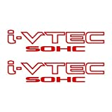 2 Pieces RED I-VTEC SOHC STICKER DECAL EMBLEM CIVIC S2000 ACCORD JDM IMPORT ILLEST