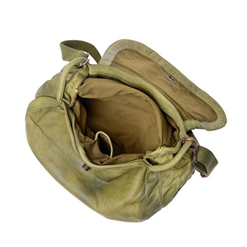 Bolso de en prenda lavado teñida piel DUDU Pistachio solapa con bandolera y Green mujer rEwSqr