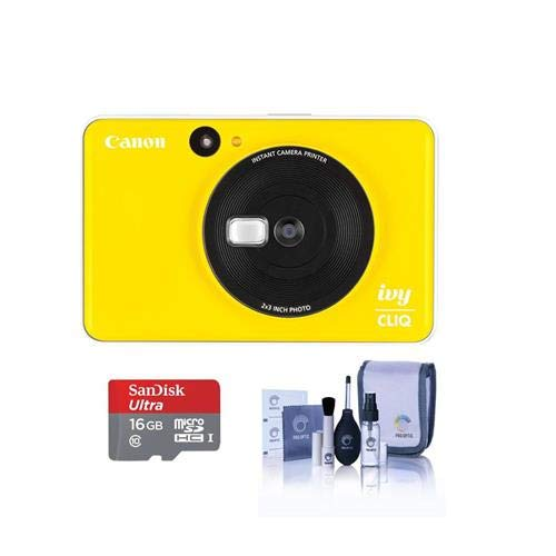Canon Ivy Cliq Instant Camera Printer – Bumble Bee Yellow – Bundle with 16GB Micro SDHC Card, Cleaning Kit