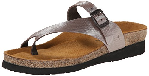 Naot Women's Tahoe Toe Ring Sandal Silver Threads Leather