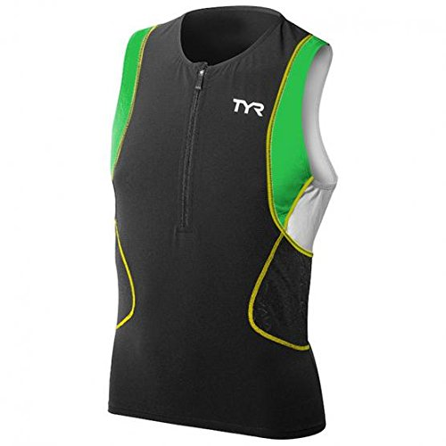 TYR Competitor Singlet Men's Top Black/Green/Yellow, - Men Triathlon Top