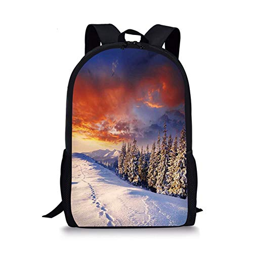 School Bags Winter Decorations,Epic Cloudy Sky over Majestic Mountains and Footsteps on Valley Decor,Orange White for Boys&Girls Mens Sport Daypack