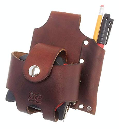 Basket Style Tape Measure Holder with Pencil Pouch (Dark Brown)