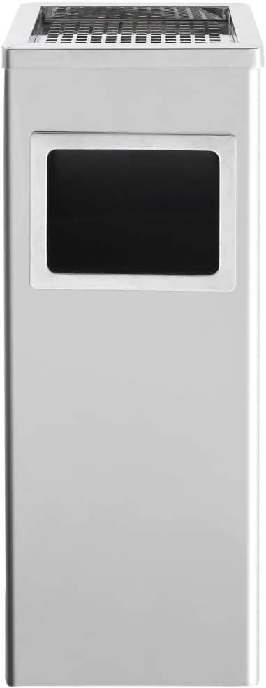 Cikonielf Papelera Cenicero de Pie para Exteriores Cubo de Basura con cenicero de Acero Robusto 24 x 24 x 61 cm Plateado