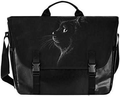 メッセンジャーバッグ メンズ 黒い猫 ブラック クール 斜めがけ 肩掛け カバン 大きめ キャンバス アウトドア 大容量 軽い おしゃれ