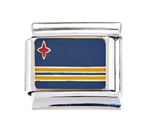Stylysh Charms ARUBA ARUBAN FLAG Enamel Italian 9mm Link PE053 - Flag Enamel Italian Charm
