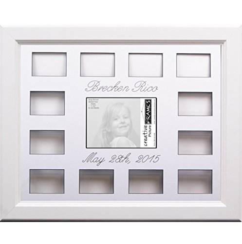 Custom Calligraphy 12 Month Timeline Newborn Collage 18 by 22-inch Picture Frame with White Mat and Wall Hangers