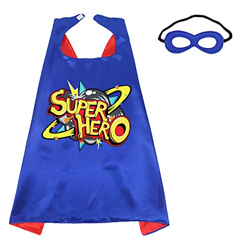 Superhero-Capes-Masks Kids Dress-up Birthday Party (Super Hero) Red Blue