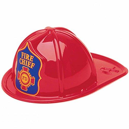 4 Children's Us American Red Fireman Fire Chief Party Plastic Helmets Hats (Fireman Balloons)