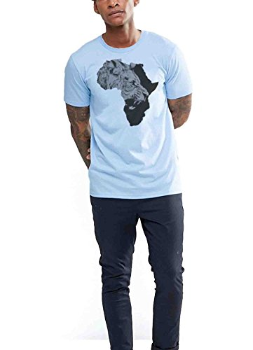 Africa T-shirt African Map Cotton Tee Black History Haile Selassie I Jah Rasta Roots (2X-Large, Blue) (Africa T-shirt Map)