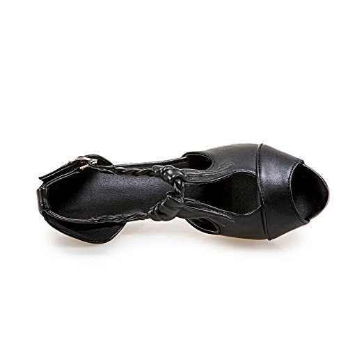 Sandaalit Mekko Peep Musta Slc03746 Tikattu Uretaani Toe Adeesu Naisten pq1wvUp
