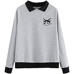 Romwe - Sudadera de Manga Larga para Mujer, diseño de Gato, Gris, XS