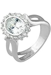Sterling Silver Oval Cubic Zirconia Pave Ring