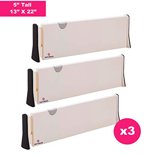 RAPTUROUS Drawer Dividers – Pack of 3 – 5 Tall and Expandable from 13-22 Dresser Drawer Organizers – Adjustable Drawer Organization Separators for Kitchen, Bedroom, Bathroom & Office Drawers