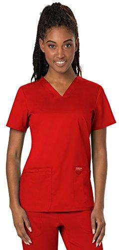 (Cherokee Women's V-Neck Top, Red, Medium)