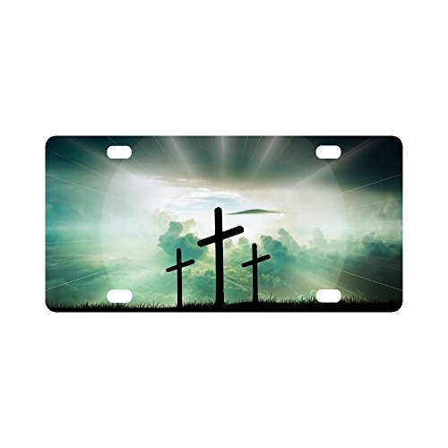 Christian Cross Durable License Plate Frame Metal Personalized Car Tag 12 X 6 inches (4 Holes)