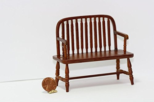 (Dollhouse Miniature 1:12 Cherry Windsor Bench )