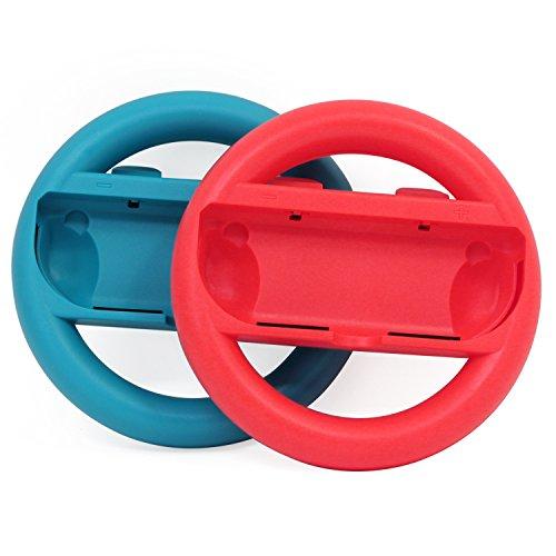 abcGoodefg Joy-Con Steering Wheel for Nintendo Switch Controller (Red+Blue)