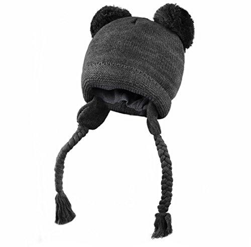 Brim Braid (Joyinglife Soft Warm Knit Cotton Cute Baby Beanie Hat With Ear Flap Braids Pom Pom, Dark Grey S)