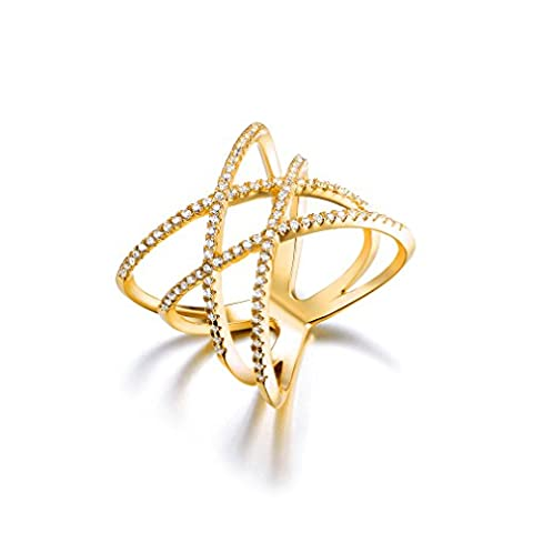 Bella Lotus Double Cross CZ Paved 18k Gold Plated Trendy Party Rings, Size 8 (Cubic Zirconia Gold Rings)