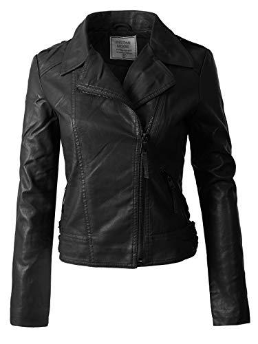 Instar Mode Women's Long Sleeves Asymmetrical Zipper Closure Biker Faux Leather Jacket Black S