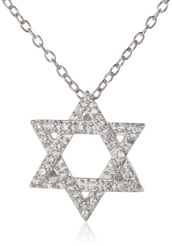 Sterling Silver White Cubic Zirconia Star of David Pendant Necklace, 18