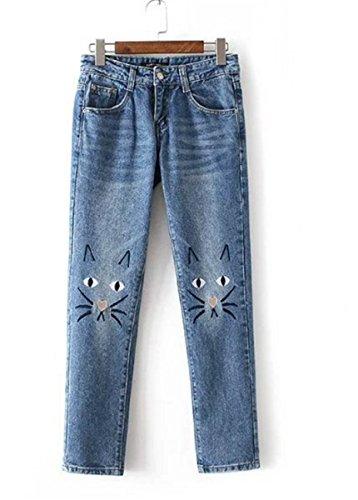 EMIN Damen Skinny Jeanshose Dennim mit Mittlere Taille Detail Bleistifthose Hüftehose Leggings mit Stickerei