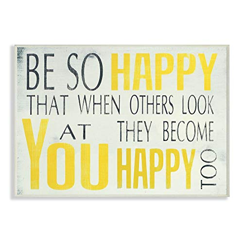The Stupell Home Décor Collection Be So Happy Typography Wall Plaque, 10 x 0.5 x 15, Proudly Made in USA (Bathroom Yellow Art Wall)