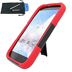 for HTC Desire 816 Hybrid Y Stand Cover Case Stylus Pen ApexGears (TM) Phone Bag. Black Red