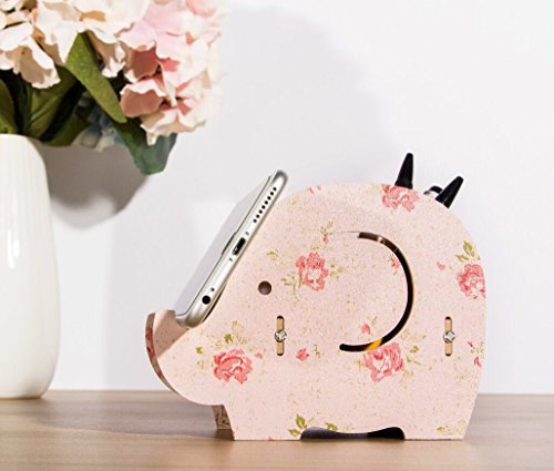 Cell Phone Stand,Dreammax Cute Wood Elephant Pencil Pen Holder,MultiFunction Removable Mobile Phone Bracket,Storage Pot Holder Box Desk Organizer for iPhone iPad Samsung Tablet ()