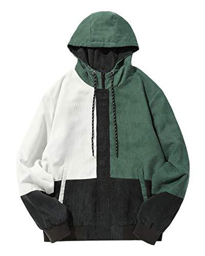 ZAFUL Men Color Block Patchwork Corduroy Hooded Jacket Long Sleeve Oversized Coat ()