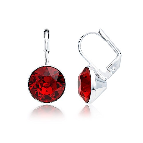 MYJS Bella Rhodium Plated Mini Drop Earrings with Ruby Red Swarovski Crystals