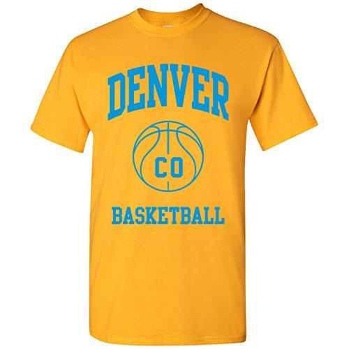(Denver Classic Basketball Arch Basic Cotton T-Shirt - 3X-Large - Gold)
