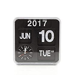 homeloo Fartech Retro Modern 9.5 Inches Calendar Auto Flip Desk Wall Clock (White)