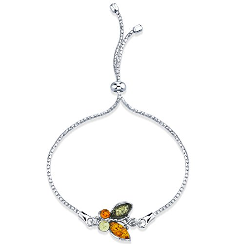 - Peora Baltic Amber Butterfly Sterling Silver Bolo Adjustable Bracelet