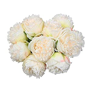 MARJON FlowersPack of 2, Artificial Peony Bridal Wedding Bouquets Elegant 5 Head Fake Peony Silk Flower Leaf with Plastic Stem for Kitchen Party Garden Hotel Off-White 113